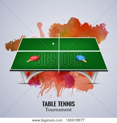 illustration of table rackets and ball with Table Tennis Tournament text on the event of Table Tennis Tournament