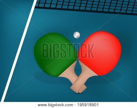 illustration of rackets, ball and net with table tennis tournament text on the event of table tennis sport tournament