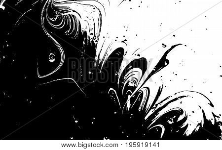 Black and white liquid texture. Watercolor hand drawn marbling illustration. Abstract vector background. Monochrome marble pattern