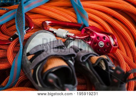 Shoes And Equipment For Climbing