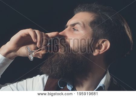 Man With Long Beard And Moustache Drinking Red Wine