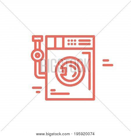 Washing machine line style illustration. Perfect logotype for your business