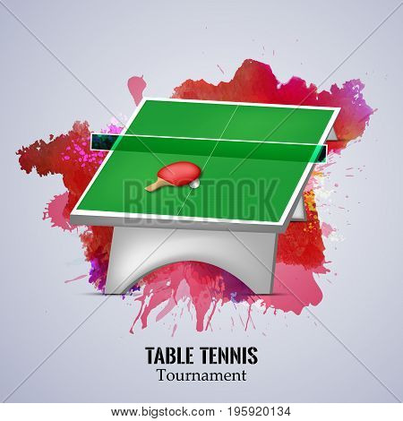 illustration of table racket and ball with table tennis tournament text on the event of table tennis sport tournament
