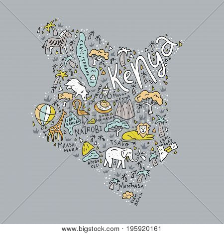 Cartoon map of Kenya with animals, national parks and main tourist attractions.