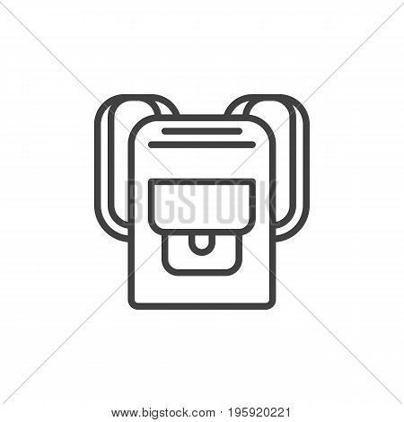 Backpack line icon, outline vector sign, linear style pictogram isolated on white. Rucksack symbol, logo illustration. Editable stroke. Pixel perfect graphics