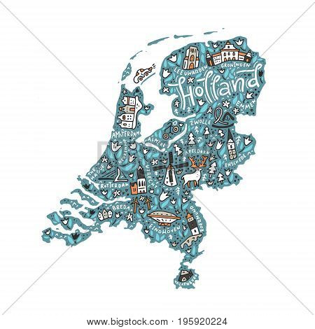 Vector illustration of Holland Map with national symbols.