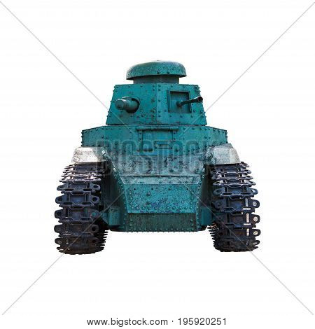 The old Russian tank on a white background.