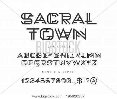 Linear geometric vector alphabet. English letters numbers and signs on a white background. Sacred font. Elements for design.