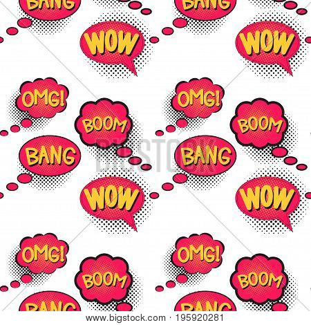 Comic speech bubble with halftone effect, set. Bright dynamic cartoon illustration isolated on white. Blank template comic text, wallpaper, wrapping. Dialog empty cloud, balloon. Seamless pattern.