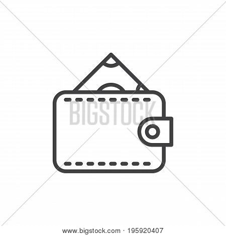 Money wallet purse line icon, outline vector sign, linear style pictogram isolated on white. Cash symbol, logo illustration. Editable stroke. Pixel perfect graphics