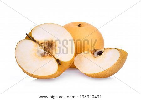 whole and half of snow pear fruit isolated on white background