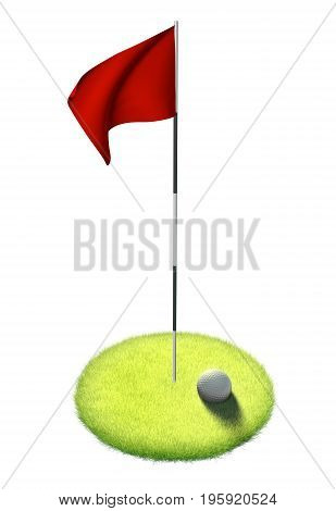 White golf ball and red flag sitting on grass putting green, 3D rendering