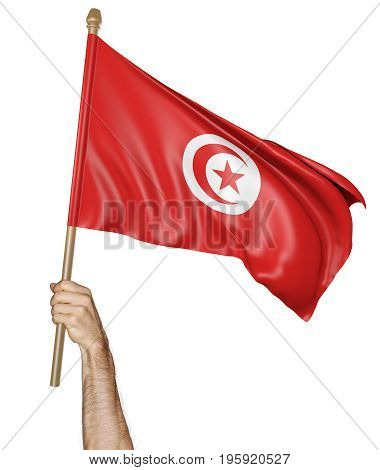 Hand proudly waving the national flag of Tunisia isolated on white background, 3D rendering