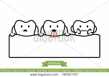 Tooth Is Halitosis, Bad Breath Concept - Cartoon Vector Outline Style