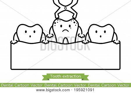 Tooth Extraction By Dental Instrument - Cartoon Vector Outline Style