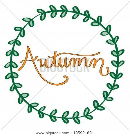 Fall Harvest Autumn Orange Seasonal Lettering with Ivy