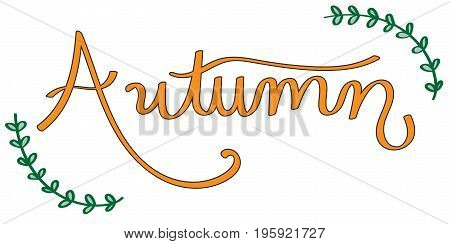 Fall Autumn Orange Seasonal Lettering with Ivy