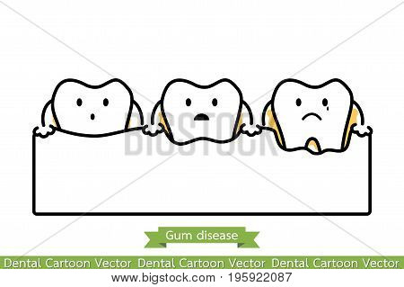Step Of Gum Disease - Cartoon Vector Outline Style