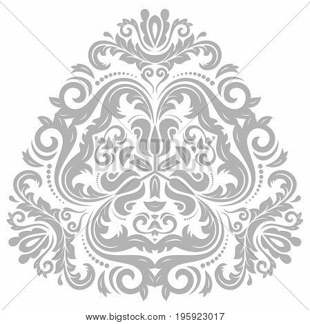 Oriental triangular silver pattern with arabesques and floral elements. Traditional classic ornament. Vintage pattern with arabesques