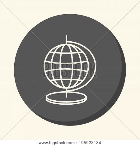 Globe with meridians and parallels vector round line icon with the illusion of volume an element for your school site or booklet