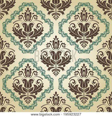 Seamless classic brown and green pattern. Traditional orient ornament. Classic vintage background