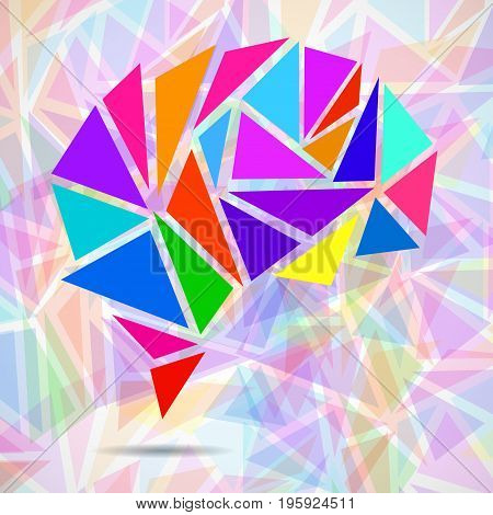 Abstract geometric human brain from colorful triangles. Vector illustration. Eps 10
