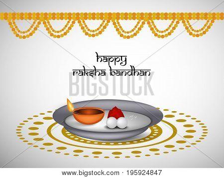 illustration of decoration and light with happy Raksha Bandhan text on the occasion of hindu festival Raksha Bandhan