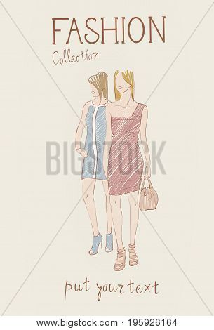 Fashion Collection Of Clothes Set Of Female Models Wearing Trendy Clothing Sketch Vector Illustration