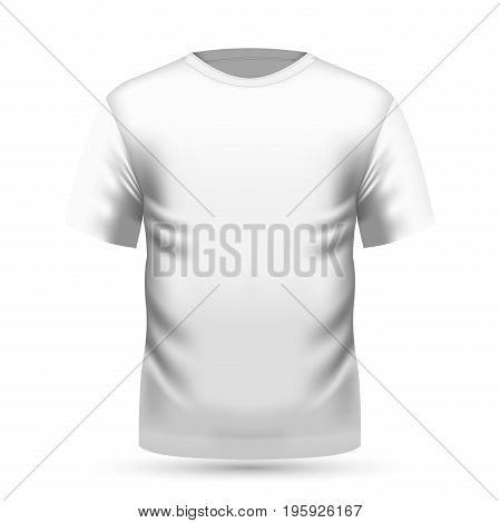 Mens white t-shirt with short sleeve in front view. Vector illustration, EPS 10