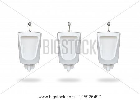 New Row Of Ceramic Outdoor Urinals In Men Public Toilet. Isolated On White Saved With Clipping Path