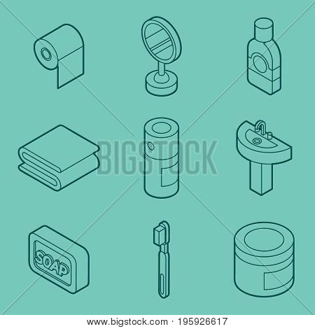 Personal hygiene flat outine isometric set. Vector illustration, EPS 10