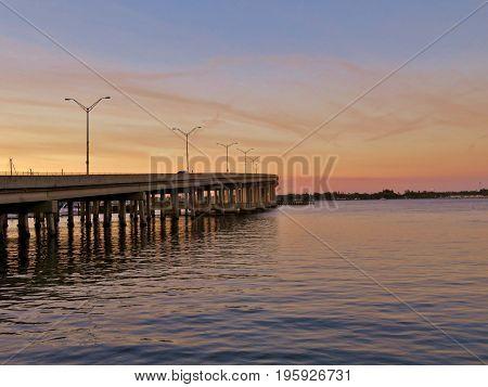 Sun Setting At River Walk Along The Manatee River In Bradenton Florida