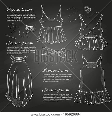 Set of woman casual clothes, shirts with a frills. Simple flat vector illustration on a chalkboard