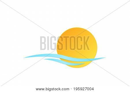 vector beautiful natural style of life icon. orange sun, blue wave, sea symbol paper style trendy modern illustration.