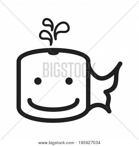Whale, face, water icon vector image. Can also be used for Animal Faces. Suitable for mobile apps, web apps and print media.