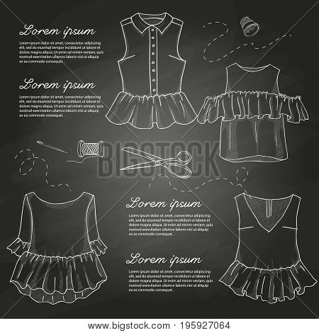 Set of woman casual clothes, tops and blouses. Simple flat vector illustration on a chalkboard