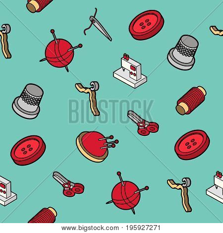 Sewing flat outline isometric pattern. Vector illustration, EPS 10