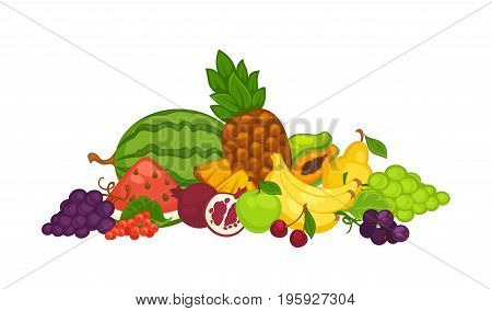 Ripe watermelon, sweet pineapple, bunch of bananas, white and blue grapes, green apple, tasty cherry, juicy pomegranate, sour red currant, exotic papaya and fresh pear in big heap vector illustration.