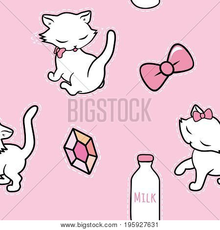 Seamless pattern with cute kitty milk diamond stickers isolated on pink background. Vector illustration.