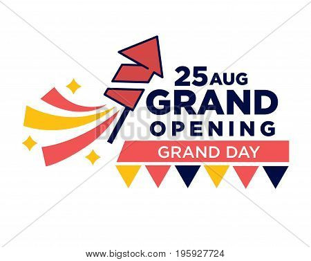 25 August grand opening ceremony day bright promotional poster with firework rocket and colorful decorative triangles under big thick sign. Important event advertisement vector illustration.