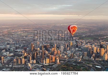 Melbourne Australia - September 15 2013: a hot air balloon floating over the central business district