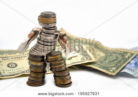 coins man with dollar on a white background