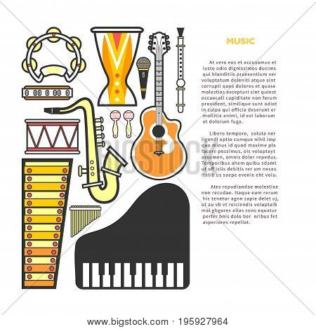Article about music with instruments vector illustrations. Elegant wind instruments, powerful percussion, acoustic guitar, classic piano, authentic maracas, melodic xylophone and modern mic.