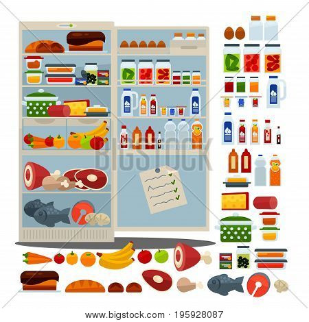 Open fridge full of fresh meat, delicious red fish, organic fruits and vegetables, sweet bakery products, homemade food in containers, pickles in jars and refreshing drinks vector illustration.