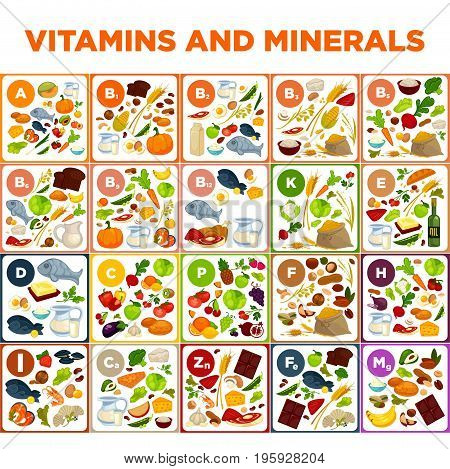 Vitamins and minerals big spreadsheet with colorful vector illustrations. Healthy vegetables, tasty fruits, nutritious meat, delicious seafood, wholesome cereals, sweet chocolate, and fresh milk.