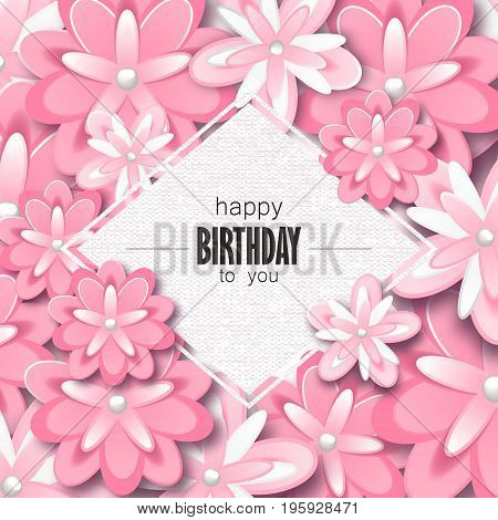 Happy birthday greeting card and party invitation template with beautiful flowers. Vector illustration