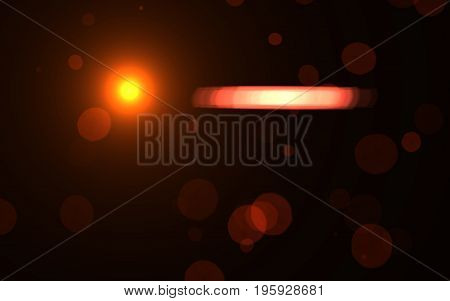 Abstract digital lens flare light.Natural red lens flare with dust.Hot flare effects.Sun with flare