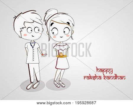 illustration of boy and girl with happy Raksha bandhan on the occasion of hindu festival Raksha Bandhan