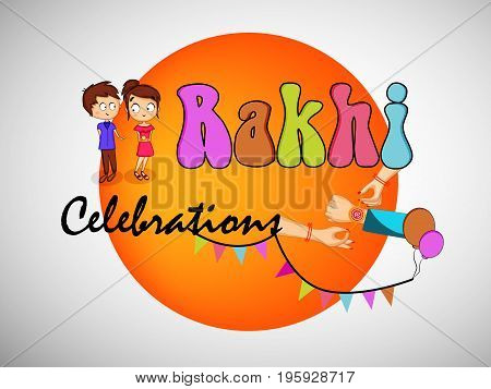 illustration of boy, girl and hands with Rakhi Celebrations text on button background on the occasion of hindu festival Raksha Bandhan
