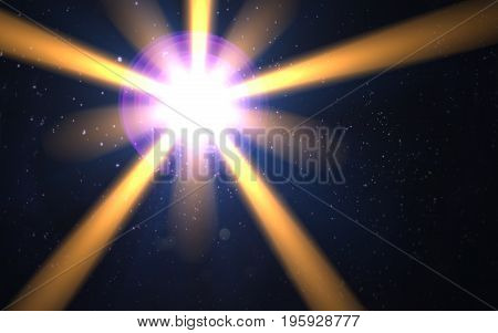 digital lens flare in black background horizontal frame.abstract image of lens flare with black background